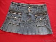 Юбка джинсовая,  стрейч,  корткая р-р 44-46